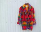 s a l e Vintage 90s Native Plush Fur Coat Sz M