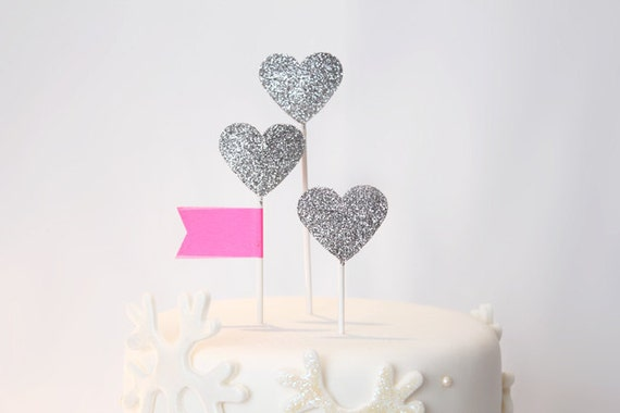 Silver hearts cake toppers