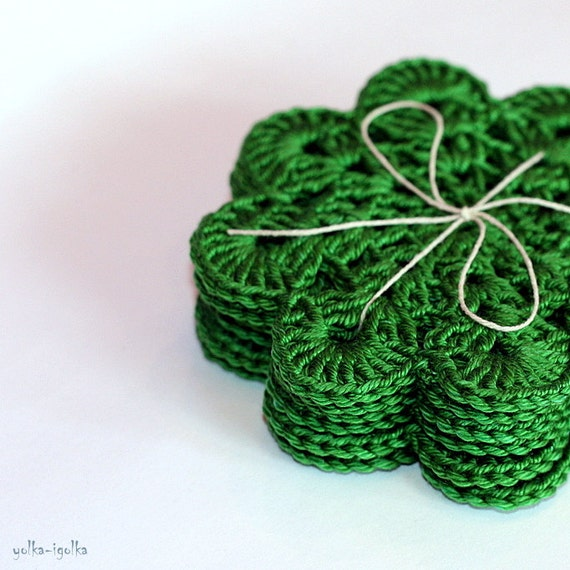 Crochet Coasters. Set of 6 pcs. Green. Placemat doilies. St Patricks Day.