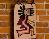tribal WALL HANGING // primitive NATIVE vintage wall art 30x14