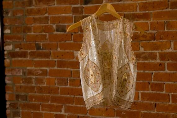 sheer SEQUIN vest // vintage HANDMADE ethnic layer XS-S