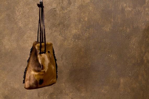 festival COWHIDE pouch // handmade FRINGED fur purse