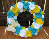 Bright Butterfly Rose Garden Wreath-Summer Decor-Summer Wreath- Door Decor- Turquoise,Yellow, and White Felt Flower Pearl Wreath