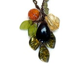 Orange Green Yellow Multi Gemstone Necklace, Fall Beaded Necklace, Nature Jewelry