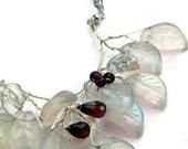 White Beaded Necklace, Garnet Necklace, Leaf Necklace, Fashion Jewelry