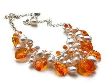 Orange Beaded Necklace, Orange Bib Necklace, Orange Leaf Necklace, Bridal Jewelry, Nature  Jewelry, N125