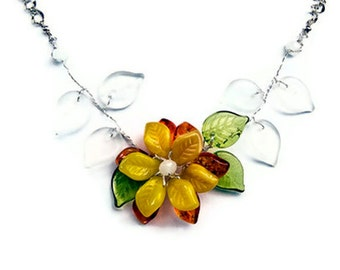 Garden Necklace - Nature Inspired - Yellow and orange