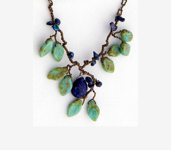 Lapis gemstone necklace - nature inspired - blue and green