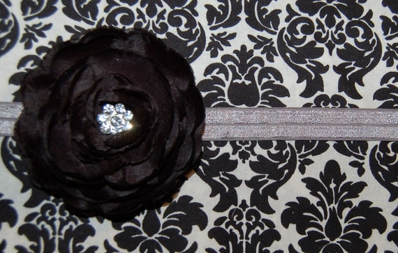 New Shop for 2012- GRAY 10 Yards of  Shiny Fold Over Elastic 5/8 for Headband