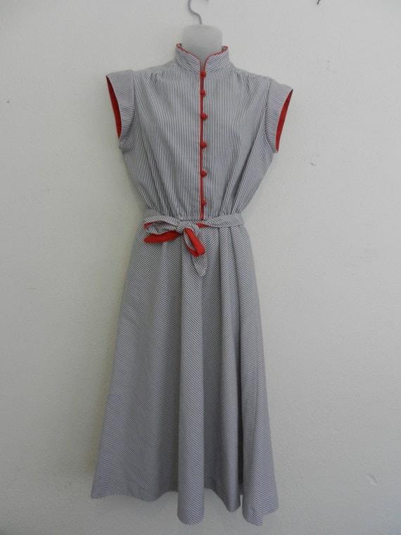 Vintage dress- NAUTICAL- blue and red- stripes- Retro dress- Womens S/M