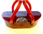 Wilardy Lucite Purse with Mirror and Curved Handles Great Cocktail Bag