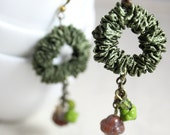 Dangling earrings in nature colors. Playful dangle earrings. Valentines Day gift idea for a girlfriend. Ribbon jewelry.