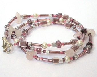 Pink Beaded Necklace With Quartz and Glass Beads