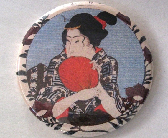 Vintage Geisha Illustration Pocket Mirror