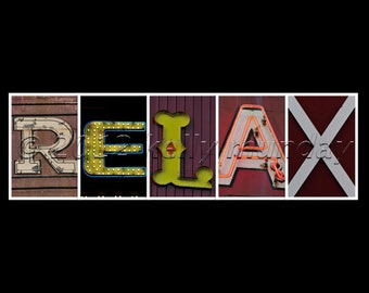 """ALPHABET photography letter art """"RELAX"""" instant download"""