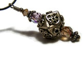 Pendant Necklace Bali Fine Silver 16 Inch with Lilac and Rose Swarovski  Crystal