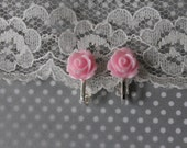 sweet and dainty vintage-inspired (light pink) cabochon rose clip-on (or pierced) earrings