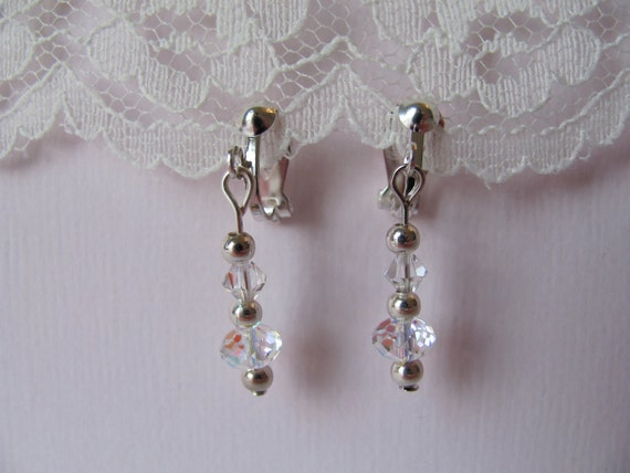 swarovski crystal and silver clip-on earrings
