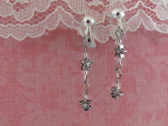 make a wish on a star clip-on earrings