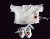 Baby White Wrap Cardigan and matching booties with cute strawberry detail.