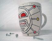Robot mug, hand painted
