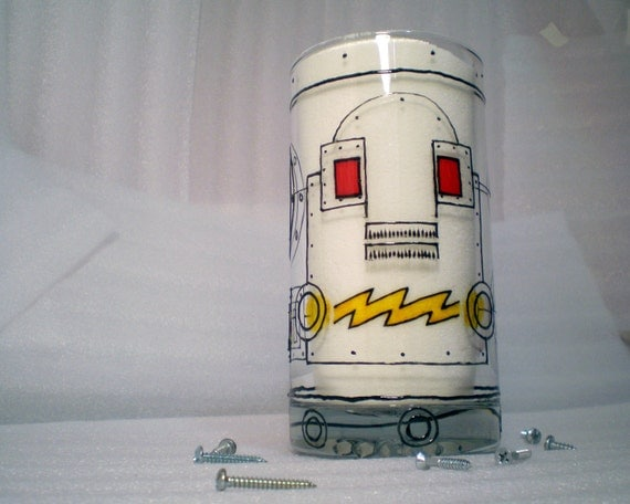Robot mug, hand painted