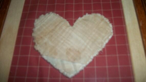 Quilt heart framed, old