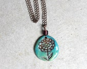 Happy Little Flower Pendant with Antique Bronze Chain Necklace - READY to SHIP