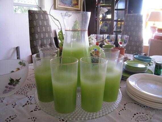 Mid century frosted green lemonade set
