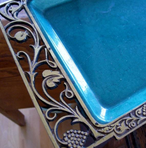 Vintage Moire glaze tray aqua colored enamel