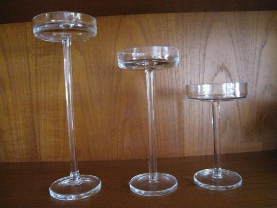 Danish Modern crystal candle pillars