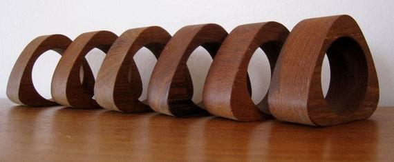 Danish modern teak napkin rings