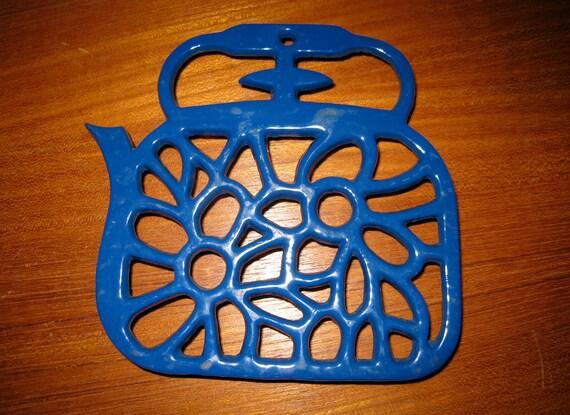 Danish modern enamel over cast iron trivet Denmark Blue