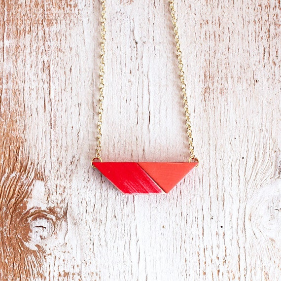 RED PUZZLE PENDANT / geometric bright red & coral pendant necklace made from wood tangram puzzle shapes on gold chain