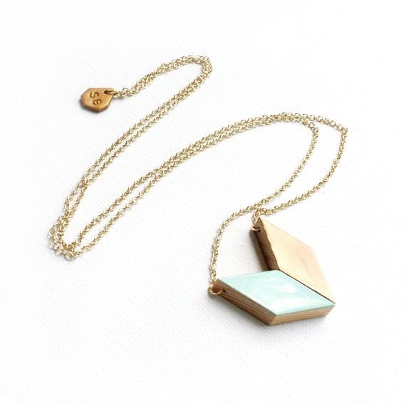 Long Mint Arrow Necklace / geometric wooden tangram chevron pendant necklace in gold & mint green on long chain