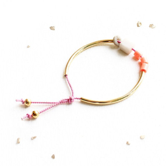 Coral/Pink Stacking Bangle: gold or silver mixed-media bracelet / coral beads, white marble, gray polymer, sparkly pink elastic