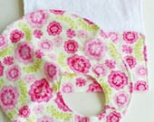 Baby Bib and Burp Cloth Set, Baby Gift Set for Baby Girls - Pink Flowers