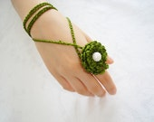 Two piece Crochet ring white pearl, bracelet, necklace, unique design,green ring.