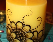 3x3 inch yellow sunflower Henna Candle