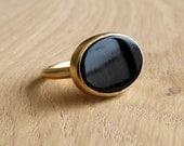 Black Onyx Ring - 18k Solid Gold