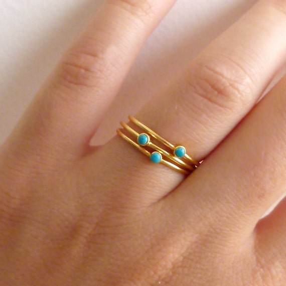 Thin Turquoise Rings - Stacking Rings - Set of Three - Gold Plated
