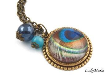 """Peacock feather"" bronze Peacock necklace"
