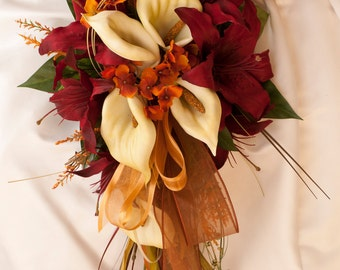 Bride Fall Wedding Bouquet Ivory Orange Red Rose and Calla Lily 19 Piece set