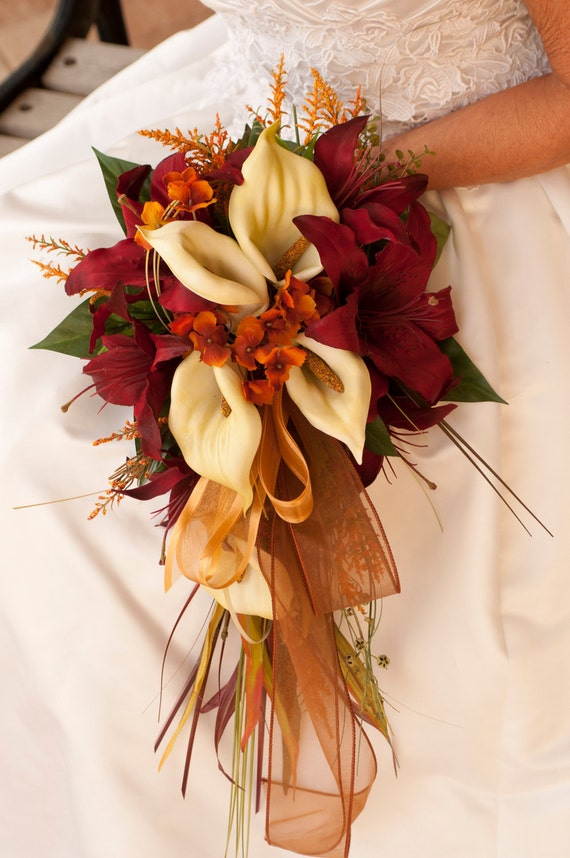 Bride Fall Wedding Bouquet Ivory Orange Red Rose And Calla