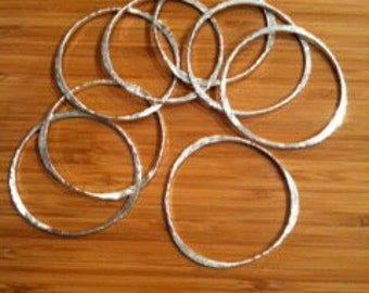 Hand hammered sterling silver bangles