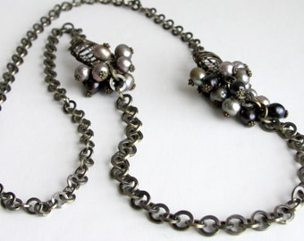 Antique brass and pearl necklace