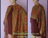 On Sale -Vintage Indian SARI Saree Shawl CAPE- Lined-OOAK Hand Made from Vintage Indian Sari-With Fringe or Beading