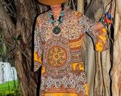 Indian Cotton Mini Kaftan Hippie BOHO Dress Maternity too Large - SunFlowers