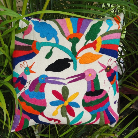 Mexican Embroidered Pillow Cover 18 Square Tribal by