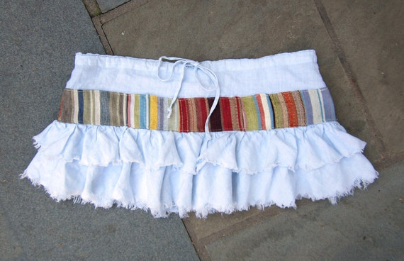 Upcycled Ruffle Mini Skirt